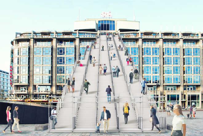 Гигантская деревянная лестница будет построена в Роттердаме