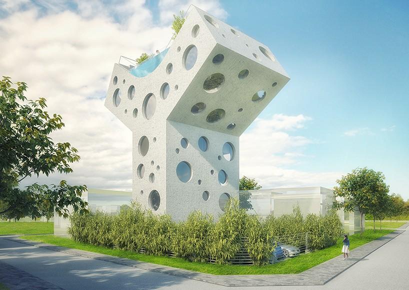 MVRDV спроектировали для Тайваня Y-образный дом с бассейном на крыше