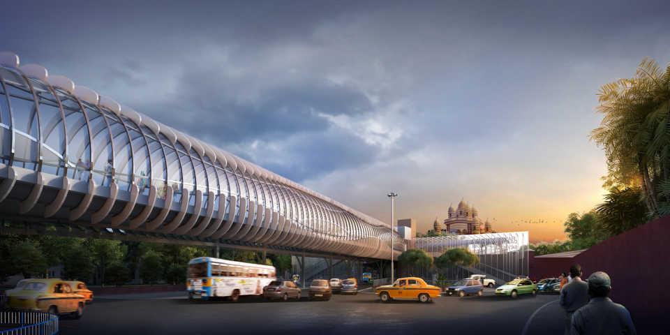 Надземный пешеходный переход решит транспортные проблемы Калькутты, связанные с популярностью местного храма