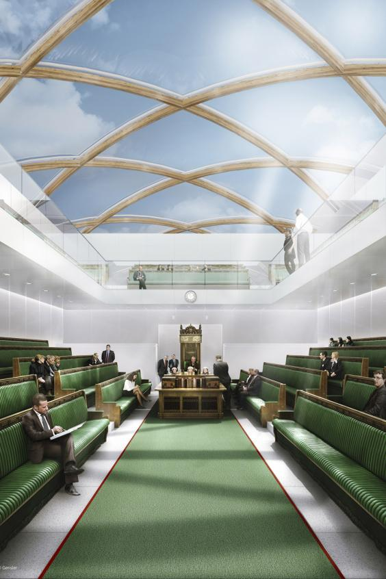 Published the first sketches of the interior of the floating building of the British Parliament