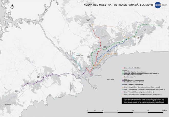 Современное состояние плана строительства (Источник: Metro de Panama)
