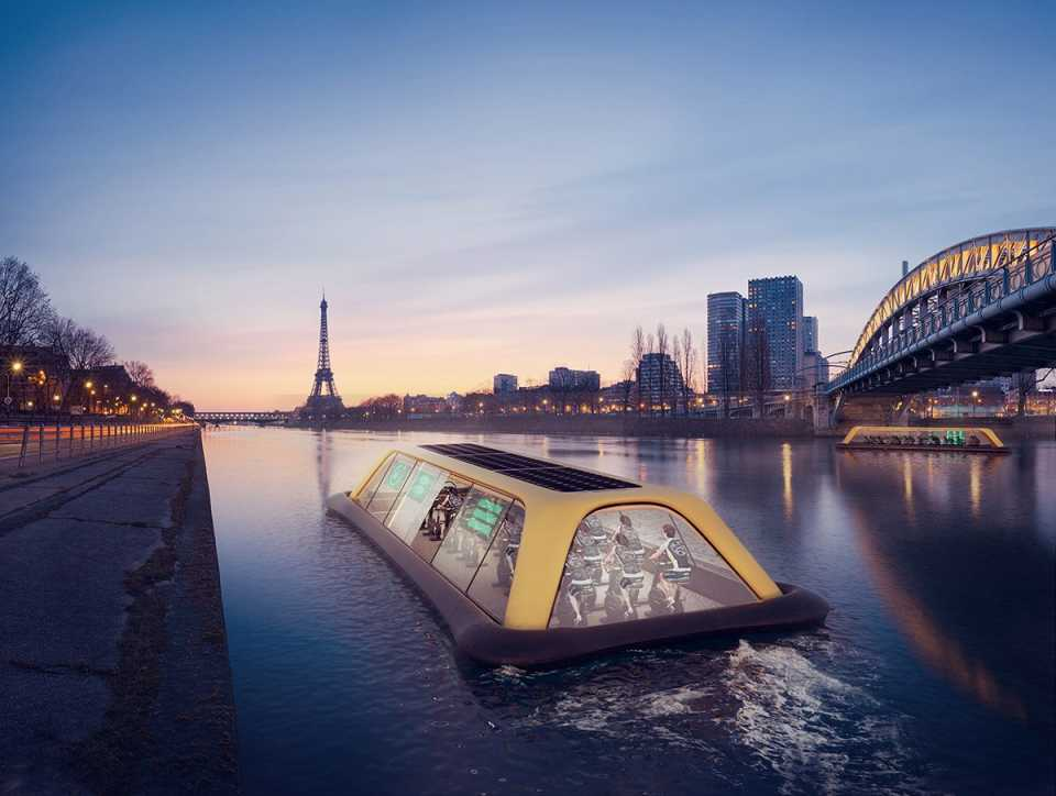 Плавучий тренажерный зал будет перемещаться по Сене за счет энергии его посетителей