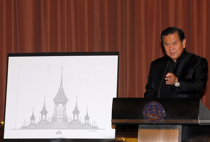 The Thai government announced the design of a 50-meter structure for the royal cremation fire