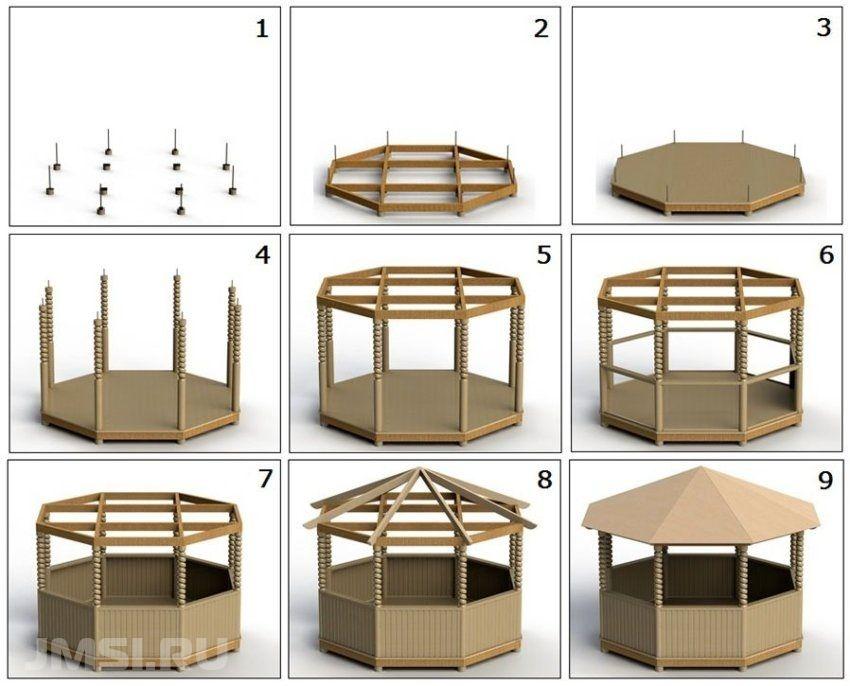 Как построить шестиугольную беседку своими руками