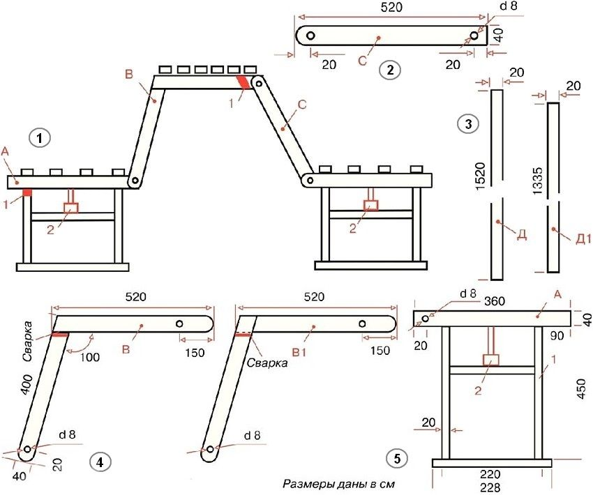 Скамейки из дерева трансформеры 23