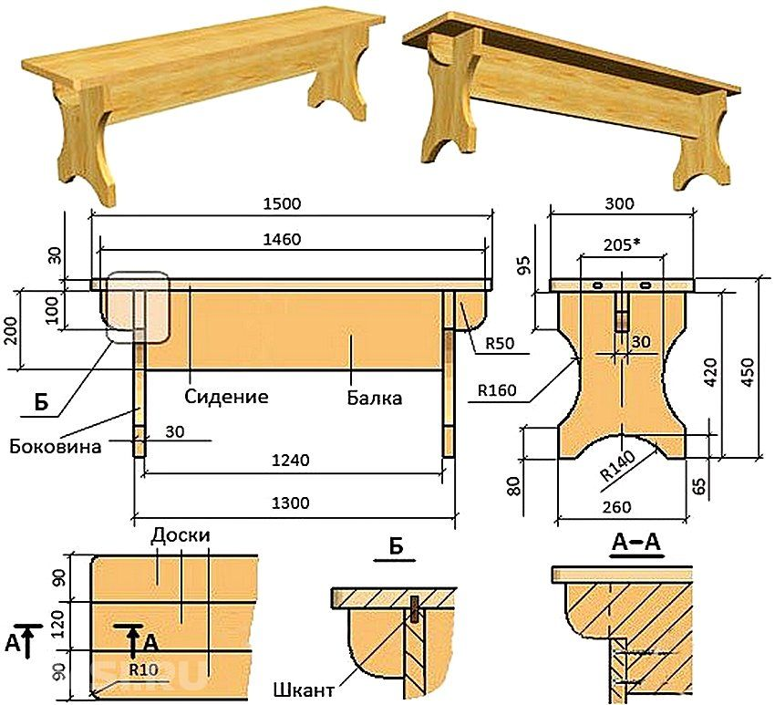 Лавка скамейка своими руками чертежи 48
