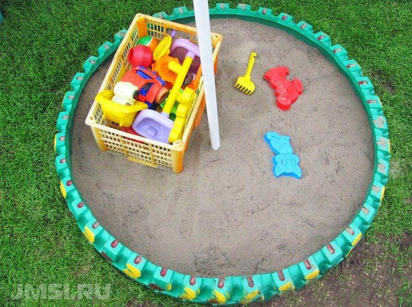 Как сделать песочницу фото из шин