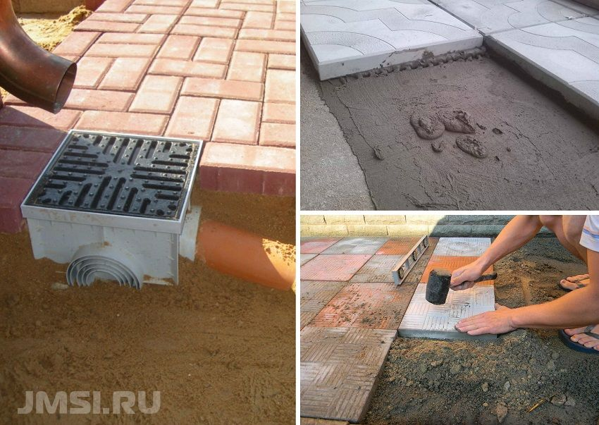 Укладка тротуарной плитки на бетонное основание 51