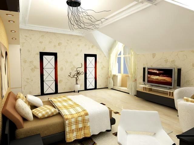 Вариант оформления спальни в стиле фьюжн