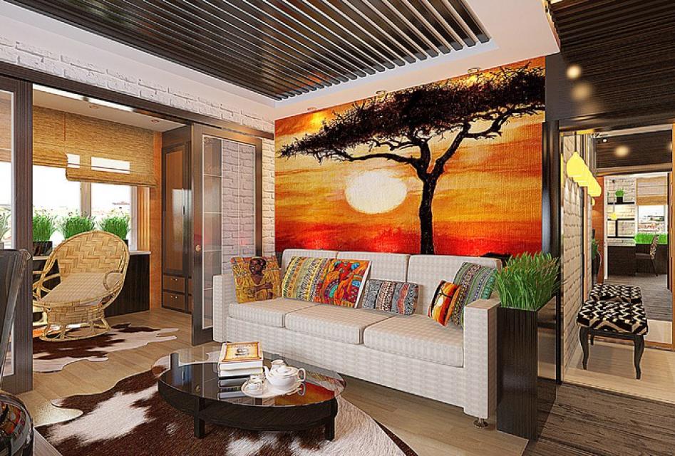 Оформление гостиной в африканском стиле