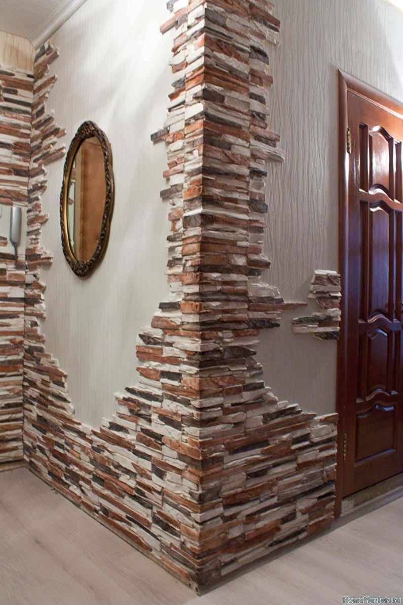 Дизайн шкафа декоративным камнем