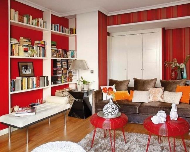 Дизайн интерьера с элементами красного